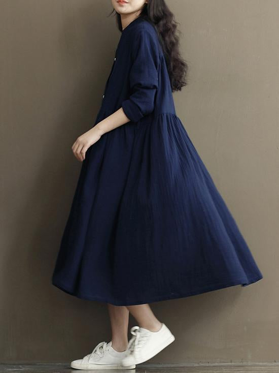 Casual Loosen Cotton Long Dress in Blue Color