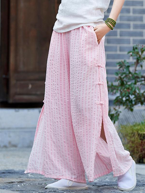 Creamy&Pink Split-side Ramie Cotton Casual Pants - Zebrant