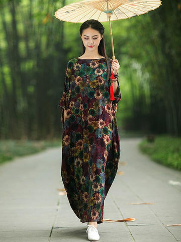 Vintage Three-quarter Sleeves Long Dress with Floral Print - Zebrant