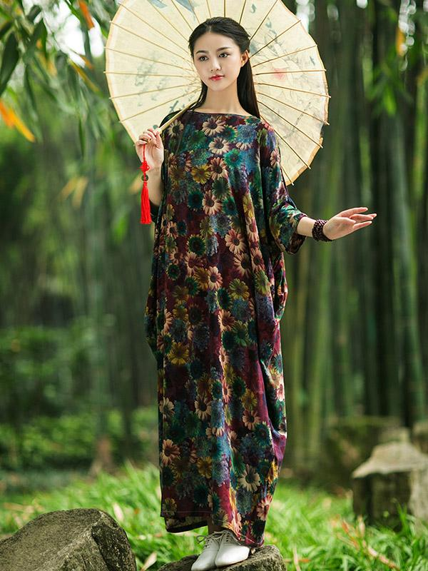 Vintage Three-quarter Sleeves Long Dress with Floral Print