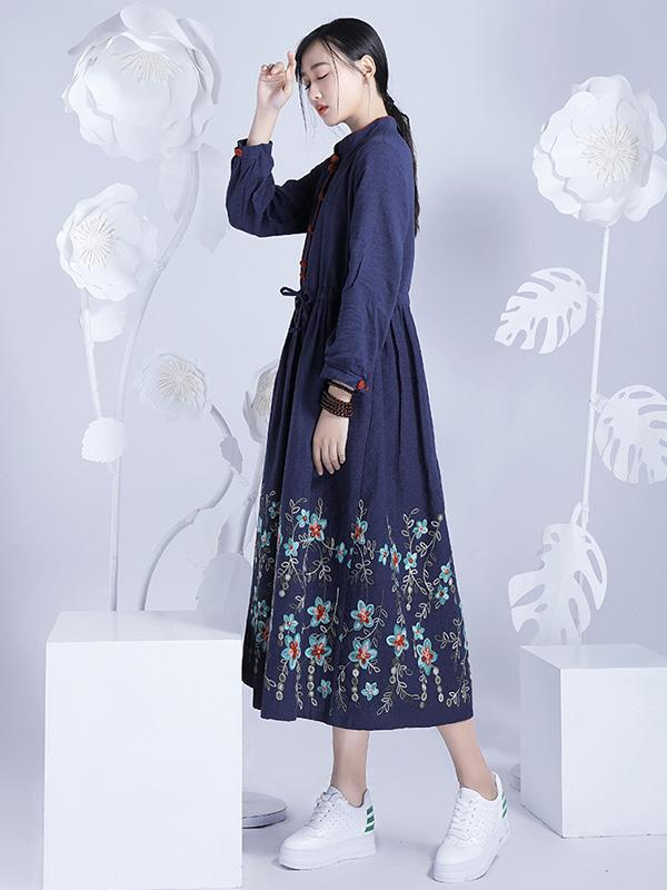 Chinese Style Loosen Dress with Flora Print, Three Colors - Zebrant