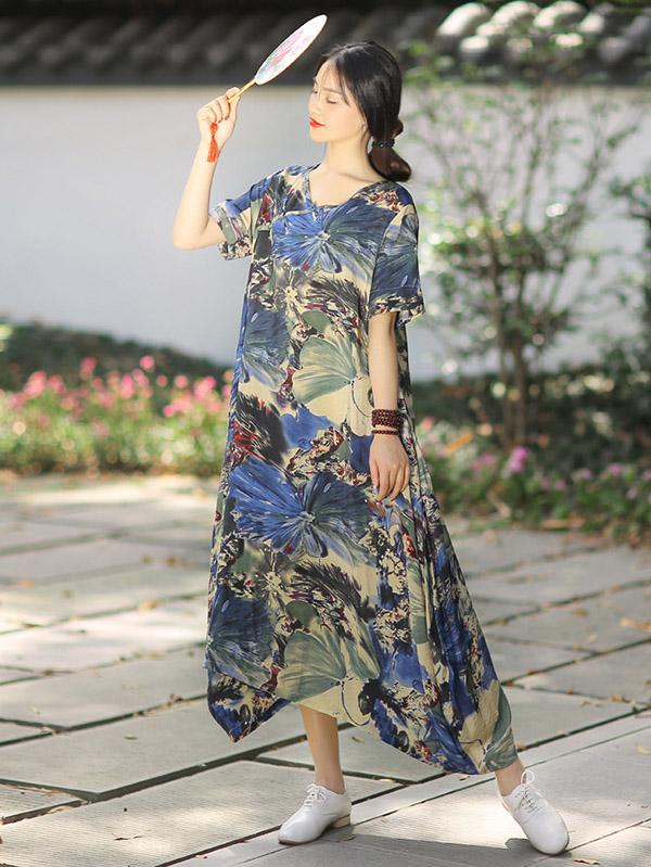 Irregular Split-Joint Ink Printing Maxi Dress - Zebrant