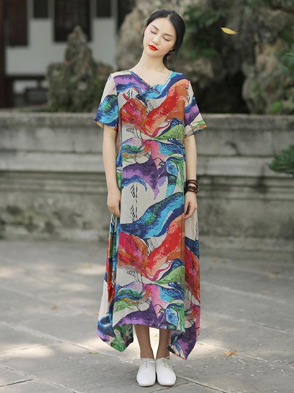 Irregular Split-Joint Floral Printing Maxi Dress