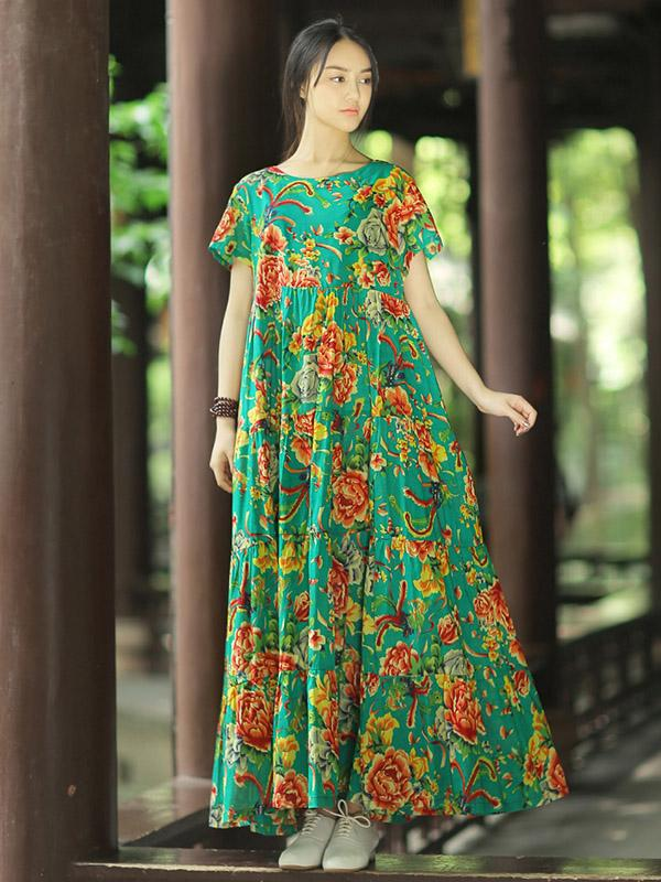 Oriental Floral Print Loosen Dress, Red or Green Color - Zebrant