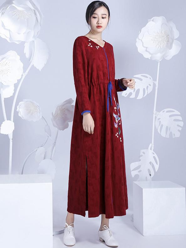 Chinese Classical Loosen V-neck Long Dress with Print - Zebrant
