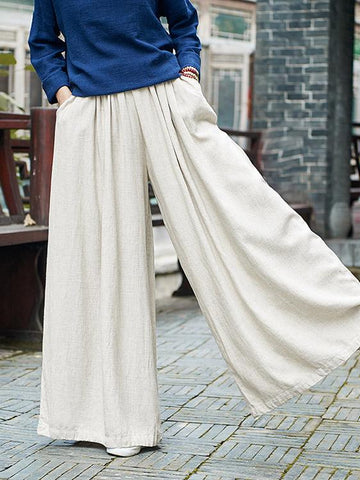 Casual Loosen Comfortable Yoga Pants in Cream Color - Zebrant