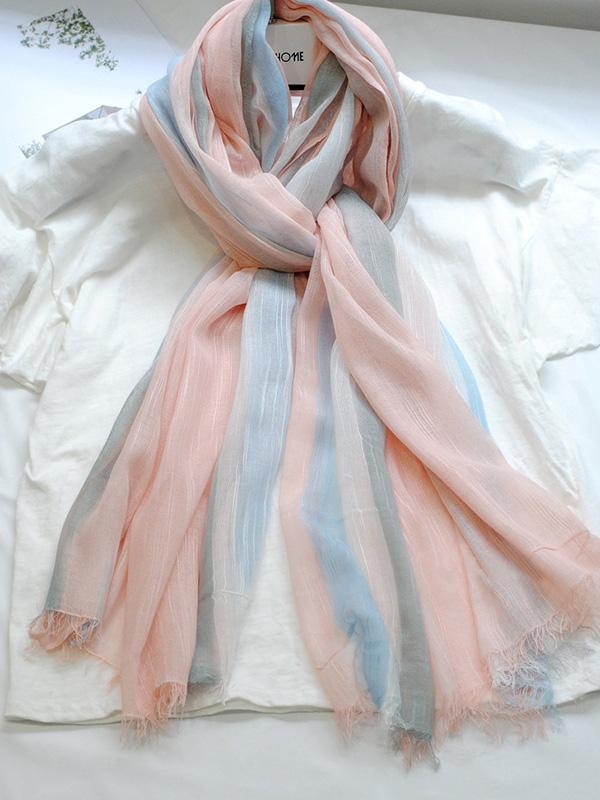 Gradient Striped Sun Protection Shawl Scarf