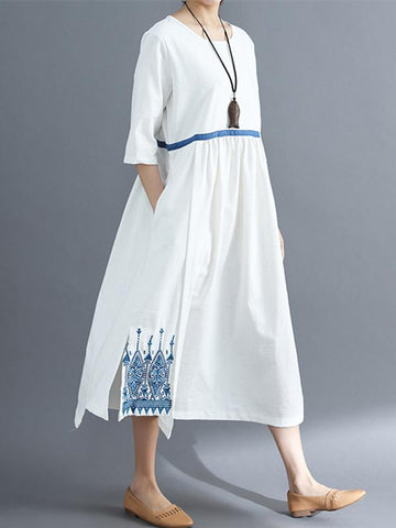 Embroidered Split-side National Style Long Dress - Zebrant
