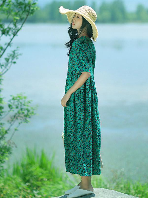 Fresh Floral Printed Green Long Dress - Zebrant