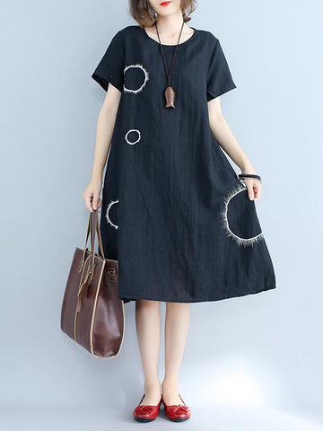 Irregularity Circle Cotton Shirt Dress - Zebrant