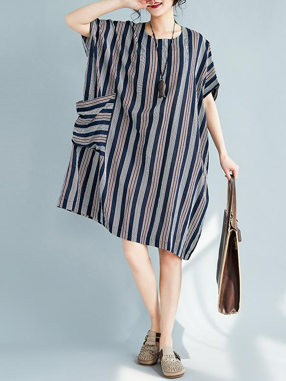 Colorful Striped Pocket Shirt Dress - Zebrant