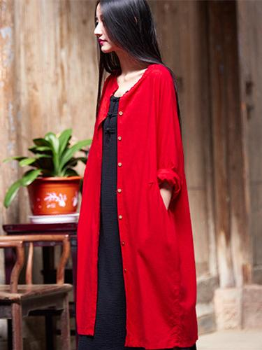 Long Loosen Cotton Cardigan Mantle, Red Size