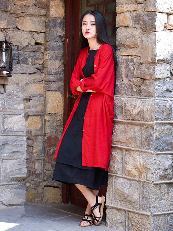Long Loosen Cotton Cardigan Mantle, Red Size - Zebrant