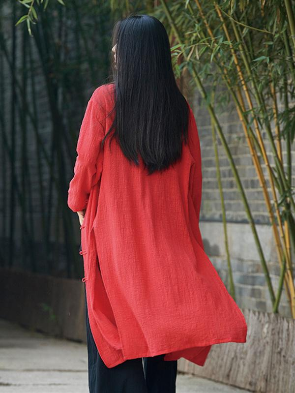 Chinese Style Cotton Outwear Cardigan in Blue and Red Color - Zebrant