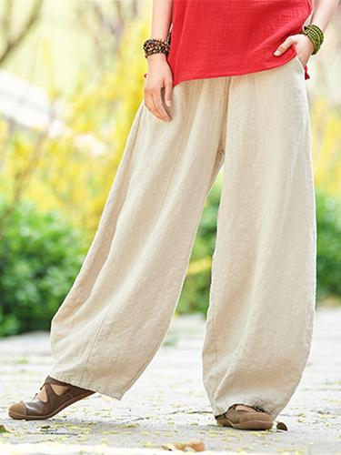 Daily Broaden Bloomers Long Pants in White Colors