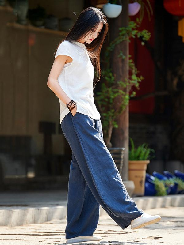 Casual Woman Style Pants in Navy Color - Zebrant