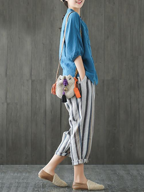 Loose Comfortable Striped Ninth Harem Pants - Zebrant