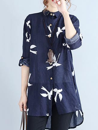 Little Bird Printed Loose Cotton Blouse Shirt - Zebrant