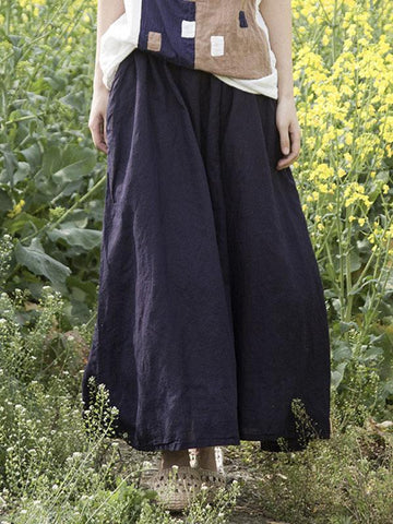 Fashion Cotton Woman Skirt in Dark Blue Color - Zebrant