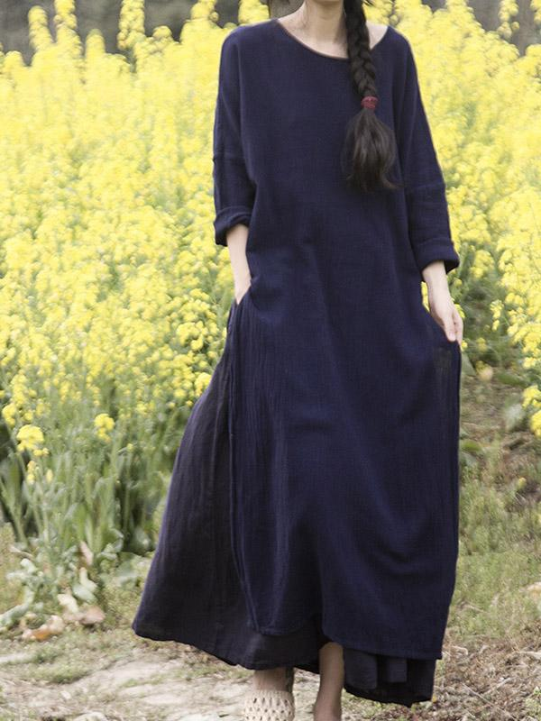 Fashion Cotton Woman Skirt in Dark Blue Color