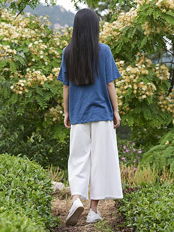 Loose Wide Leg Ramie Cotton Casual Linen Pants