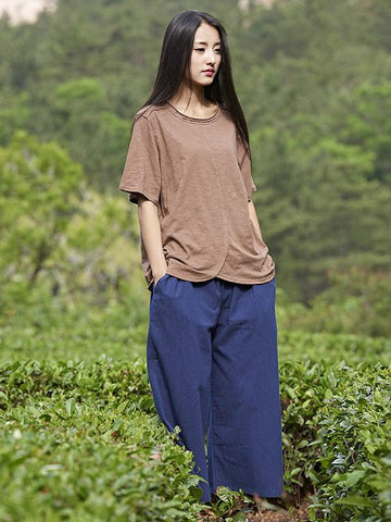 Loose Wide Leg Ramie Cotton Casual Linen Pants - Zebrant