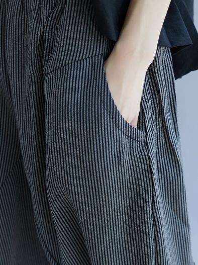 Stripes Loose Casual Trendy Suit with One Halve Sleeves