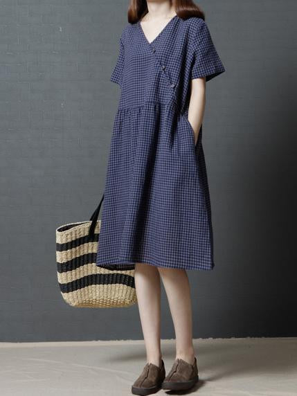 Plaid Casual Long Dress in Red or Navy Blue Color