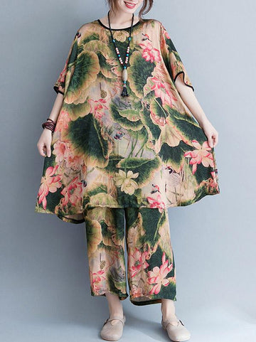 Casual Broaden Suit with Top and Pants in Floral Print