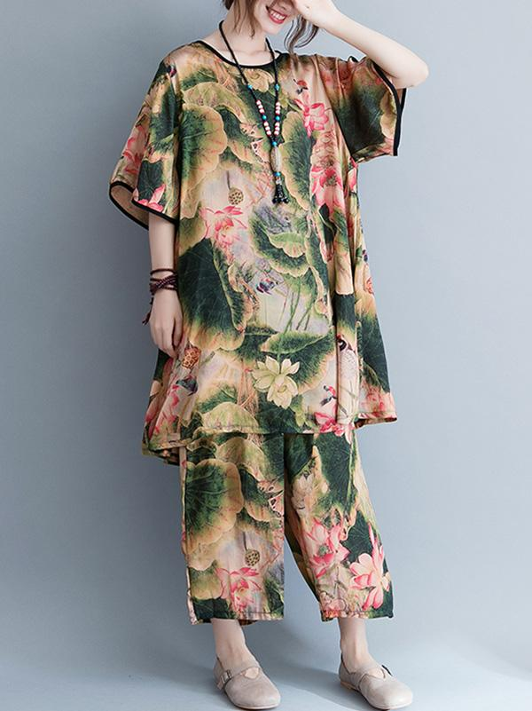 Casual Broaden Suit with Top and Pants in Floral Print - Zebrant