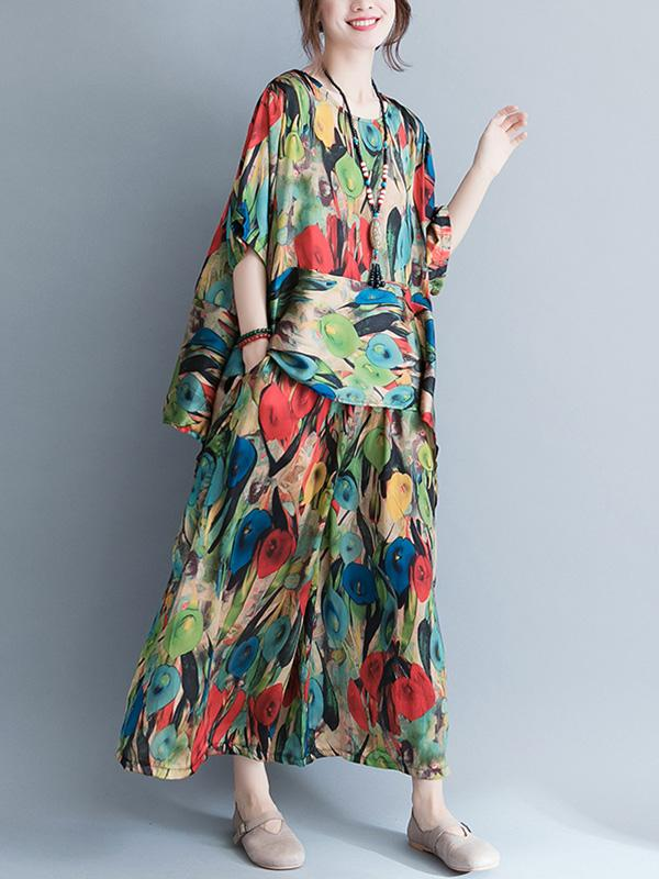 Colorful Floral Print Loose Tops+Pants Suit - Zebrant