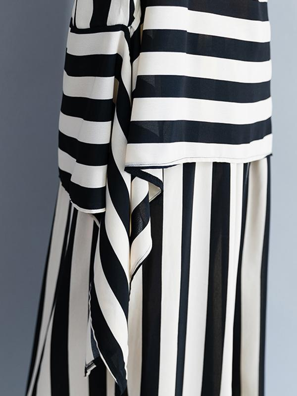 Fashion Combo Suit from T-shirt and Pants in White and Black Stripes - Zebrant