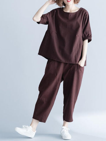 Coffee Loose Ramie Cotton T-shirts Pants Suit - Zebrant