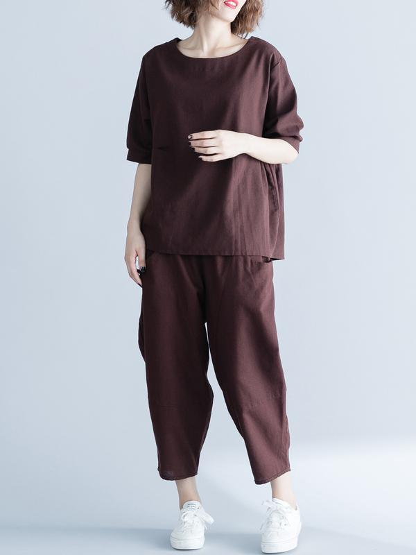 Coffee Loose Ramie Cotton T-shirts Pants Suit