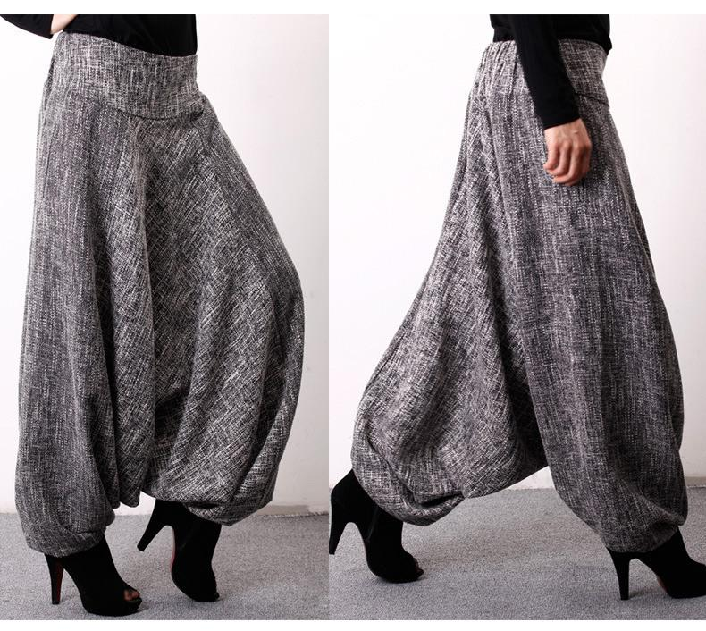 Original Loosen Pants Skirt with Pockets in Gray Color