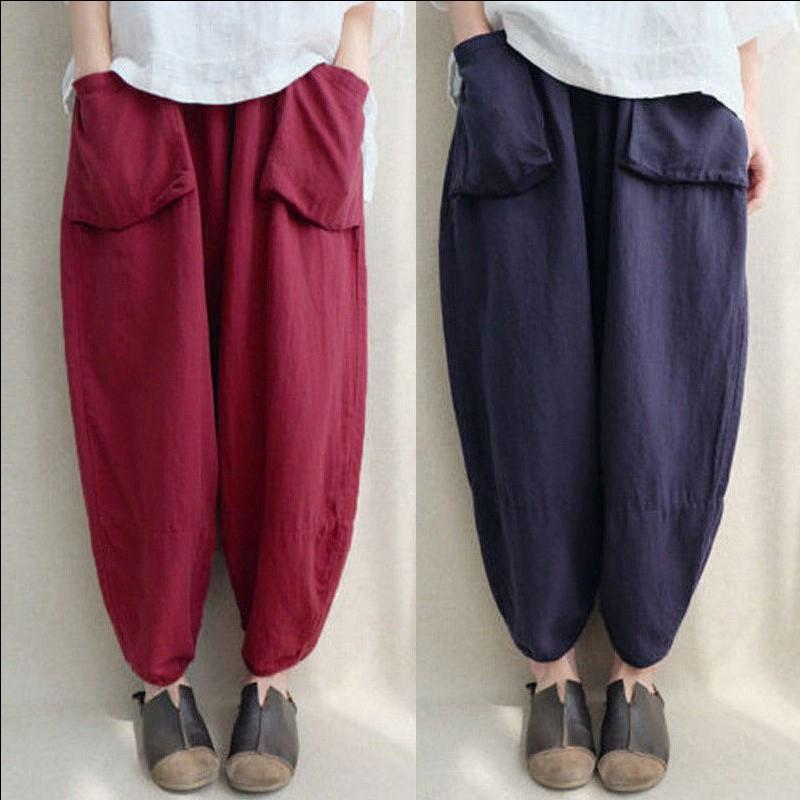 Solid Color Linen Bloomers Pants With Pockets - Zebrant