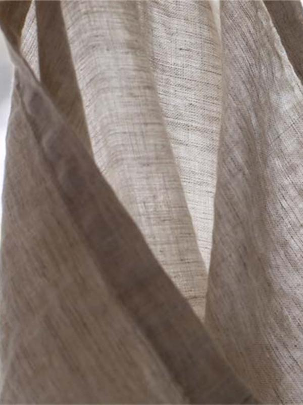 Soft Beige Wide Leg Loose Linen Pants