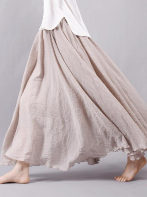 Casual Cotton Broaden Long Skirt, Nine Colors