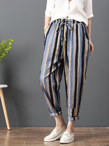 Loose Corlorful Stripe Lace-up Pants - Zebrant