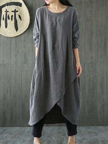 Simple Design Asymmetrical Linen Dress, Three Colors