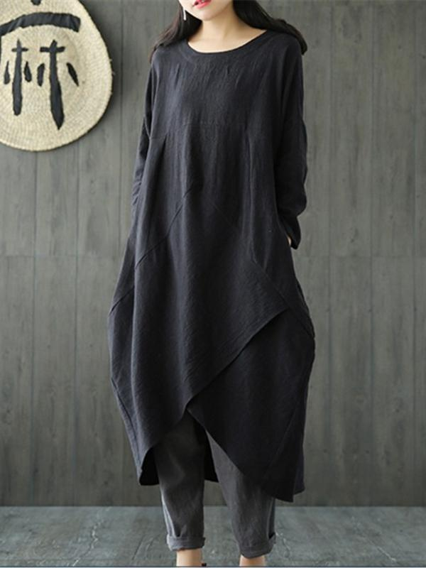 Simple Design Asymmetrical Linen Dress, Three Colors - Zebrant