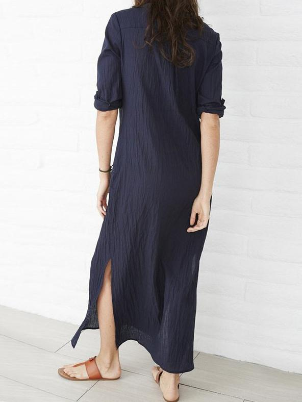 Comfortable Split-side Pure Color Long Dress - Zebrant