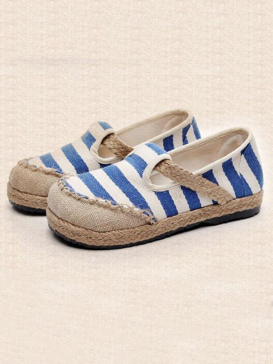 Authentic Oriental Style Striped Cotton Shoes, Four Colors - Zebrant