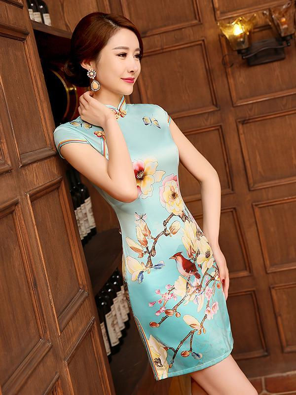 Floral-Printed Slim Fit Short Cheongsams Dress - Zebrant