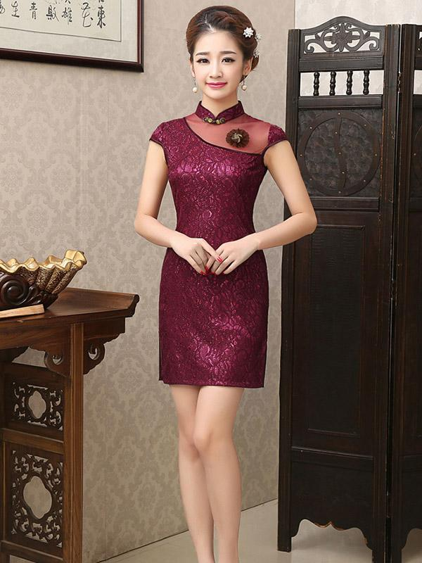 Lace Elegant Short Slim Cheongsam Dress - Zebrant