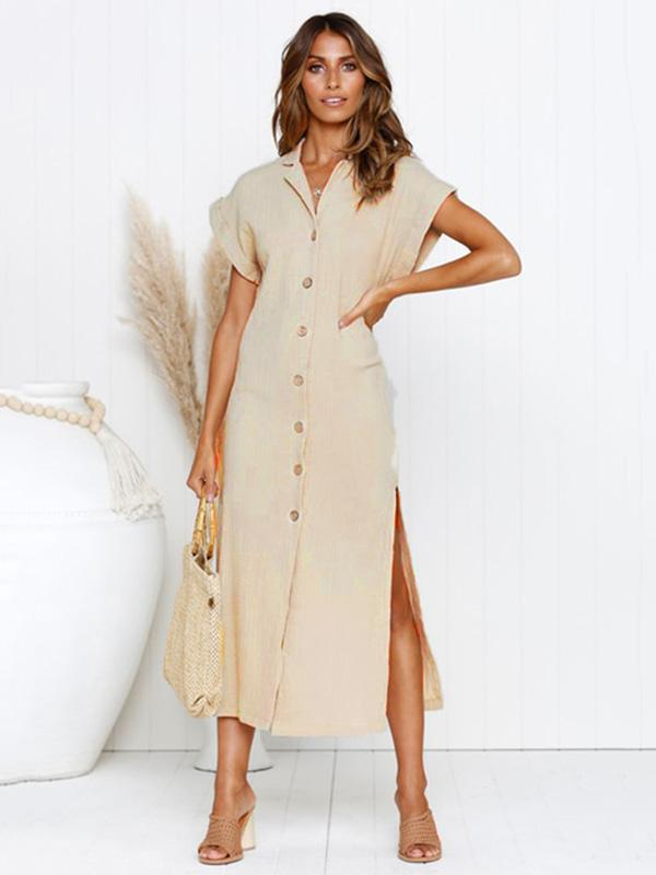 Simple Split-side V-neck Shirt Midi Dress - Zebrant