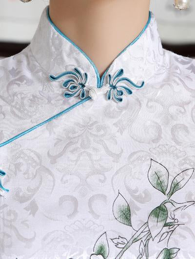 Chinese Traditional Short Sleeves Dress with Flower Print - Zebrant