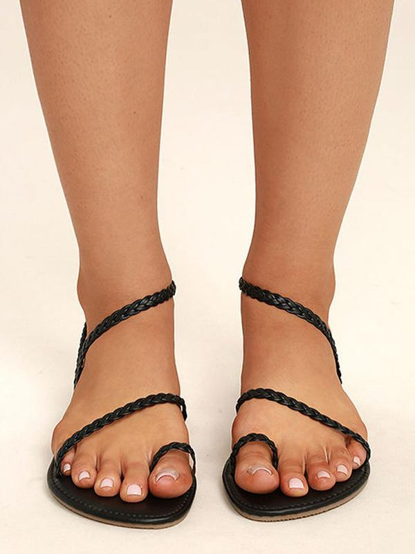 Casual Weave Flat Sandals Shoes - Zebrant