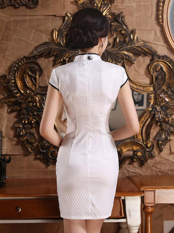 White Leaves Printed Short Cheongsam - Zebrant