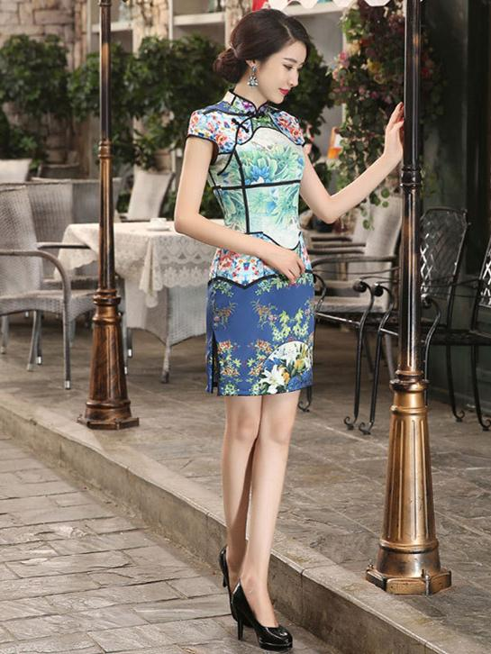 Blue Digital Print Split-side Short Cheongsam - Zebrant
